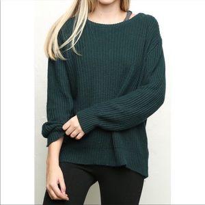 Brandy Melville Green Scoop Neck Knit Sweater